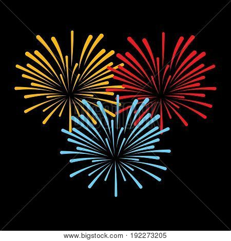 icon three fireworks on a black background new year Independence Day