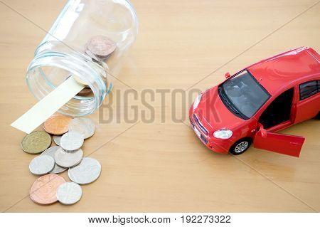 Money saving for Car in the glass bottle