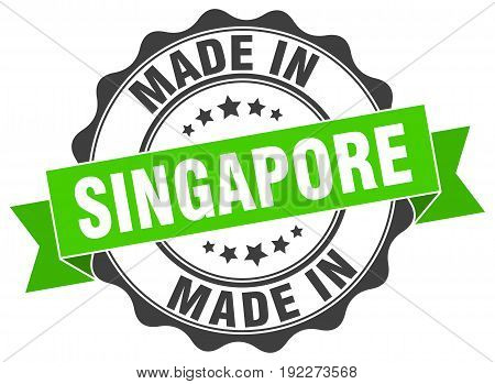 made in Singapore round green grunge seal