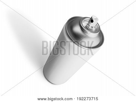 Metal aerosol spray bottle can on white background