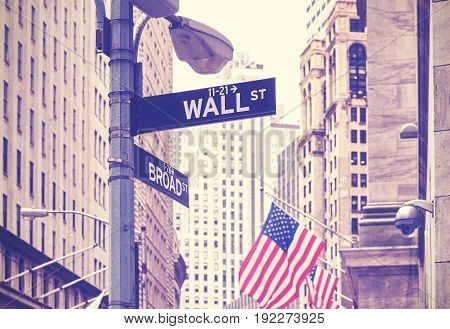 Wall Street And Broad Street Signs, New York City, Usa.