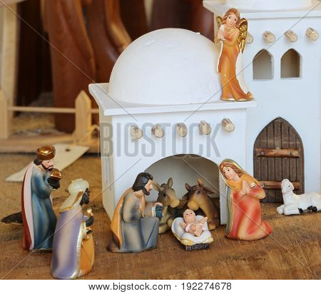 Palestinian Nativity Scene With Holy Family Set In The Middle Ea