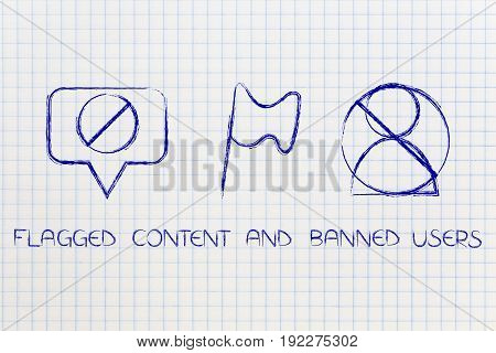 Flagged Content And Banned Social Media Users Icons