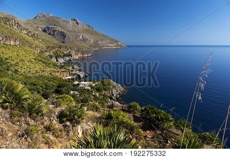 Hills cliffs and the sea Lo Zingaro Nature Reserve in Sicily Italy