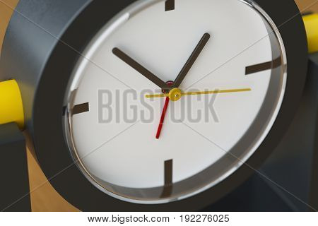Table clock of black and yellow plastic on a light wooden table. White clock face with black yellow and red arrows covered by glass. Macro picture. 3D illustration.