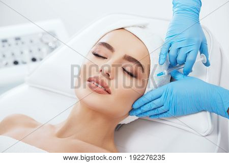Gorgeous Girl Doing Cosmetic Procedure