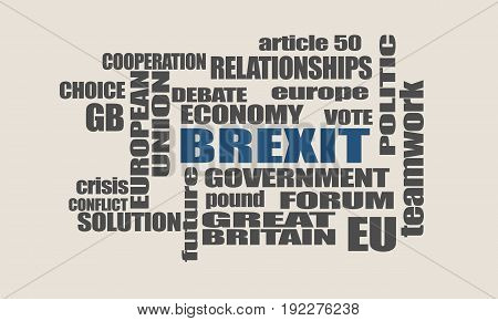 United Kingdom exit from Europe relative words cloud. Brexit named politic process.
