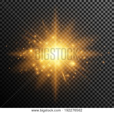 Vector illustration of golden light. Shining particles, bokeh, sparks, glare with a highlight effect on a dark background transparent