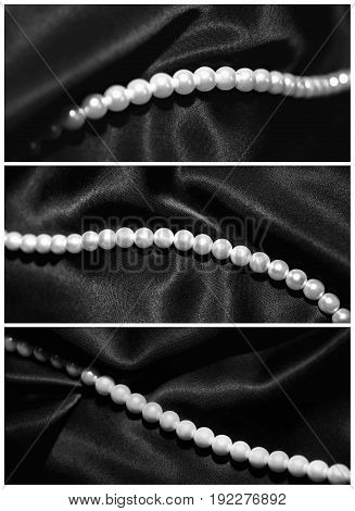 Pearl necklace on black silk. Set of three photos