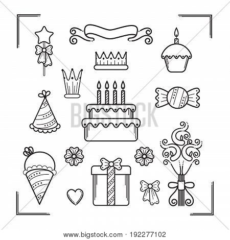 Happy Birthday Party design elements set in line art style.