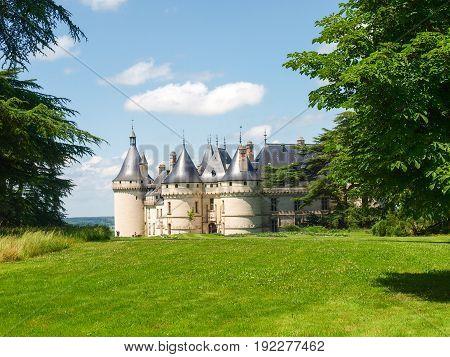 Chaumont-s-Loire France - June 8 2014: Chateau Chaumont-s-Loire. View of part of the castle and the garden circumstances.