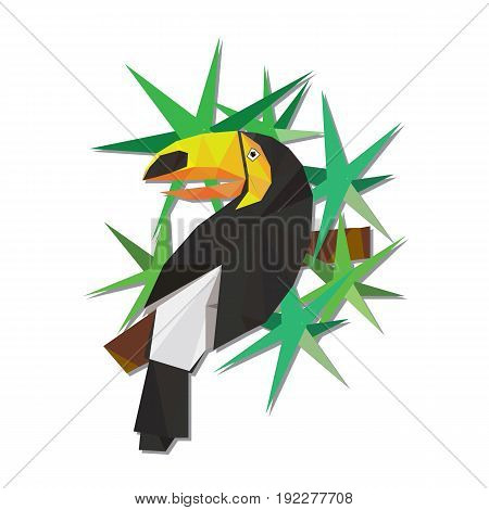Vector illustration of toucan on the branch in low poly style.
