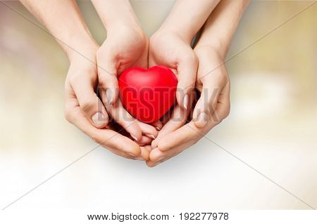 Close up of a man and woman holding a red heart in their hands together. Health and wellness or Valentine love concept.