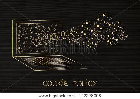 Browser Cookies Popping Out Of A Paotop Screen On A Spring