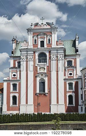 facade of baroque Catholic Church in Poznan