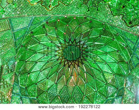 Shah Cheragh mosque mirror mosaic ceiling - 27-02-2009 Shiraz Iran