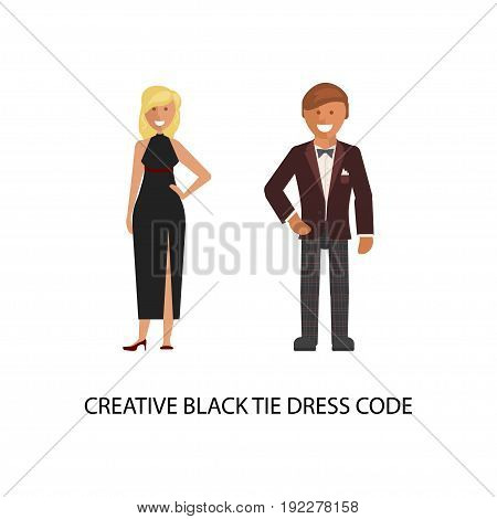 Creative black tie dress code. Man and woman in smart casual style suits isolated on white background. Vector illustration of people in formal clothes.