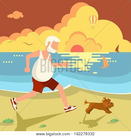 The old man jogging with his dog on the sea beach. Flat Cartoon Character of pet and his owner. Colorful Vector Illustration eps 10