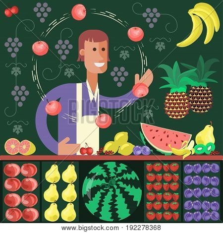 Cartoon character fruit seller Juggle with apples vector illustration