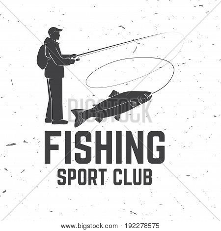 Fishing sport club. Vector illustration. Concept for shirt or logo, print, stamp or tee. Vintage typography design with Fisherman and rainbow trout silhouette.