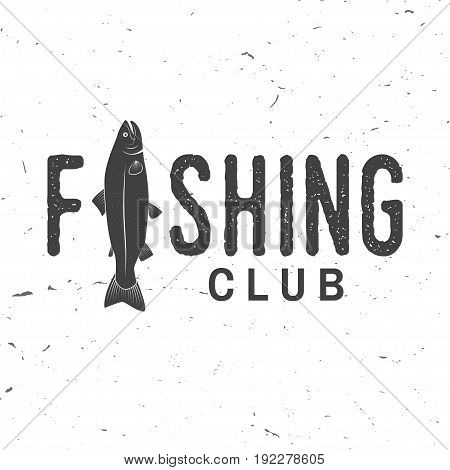 Fishing club. Vector illustration. Concept for shirt or logo, print, stamp or tee, tourism, ocean fishing, spinnerbait, spoon-bait. Vintage typography design with rainbow trout silhouette.