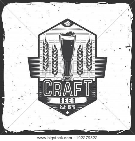 Craft Beer badge. Vector illustration. Vintage design for bar, pub and restaurant business. Coaster for beer.