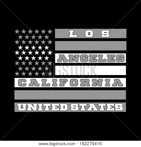Los Ageles California a printing house with an American flag shirt fashion graphic original graphic style