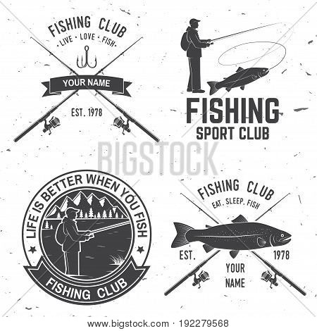 Life is better when you fish. Vector illustration. Concept for shirt or logo, print, stamp or tee. Vintage typography design with Fisherman, river, rainbow trout, hook and mountain silhouette.