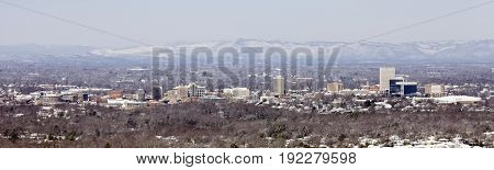 Panorama of snowy Greenville Skyline with Mountain Range
