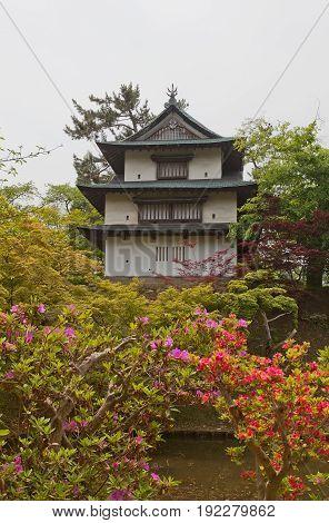 HIROSAKI JAPAN - MAY 23 2017: Ushitora Turret of Hirosaki Castle. Important Cultural Property of Japan