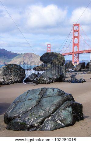 Baker Beach with the Golden Gate Bridge in the background. The Presidio, San Francisco, California, USA.
