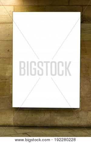 Blank Ad Space Sign Isolated On A Brick Wall