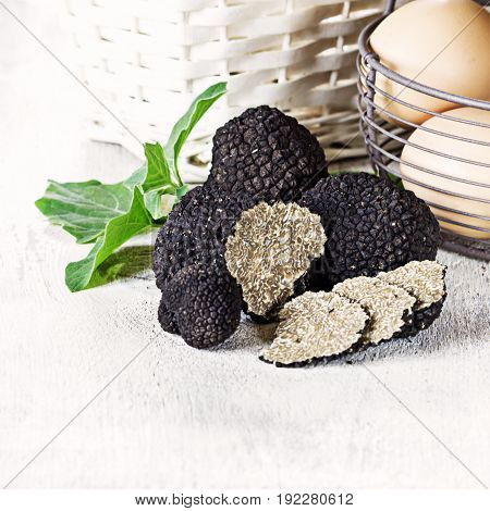 Black truffles with egg on white background. Copy space.