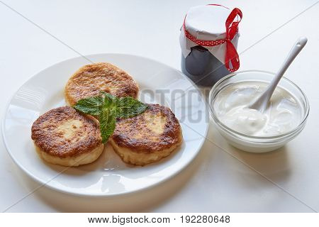Healthy Breakfast. Pancakes With Jam And Sour Cream