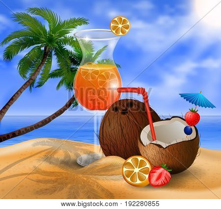 Exotic coconut cocktail on a beach background with fruit and beverage vector