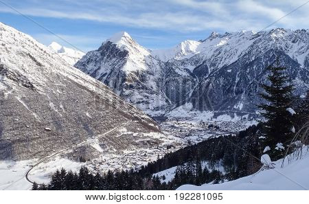 Val Blenio. View Of The Village Of Olivone