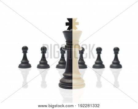 Two-color Chess Piece The On Isolated White Background
