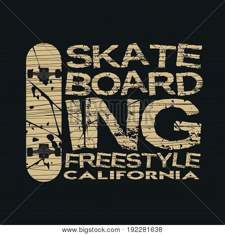 skateboarding t-shirt T-shirt inscription typography graphic design California skateboard