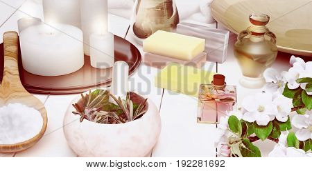 Spa still life with burning candles and flowers of an apple-tree. 3D illustration