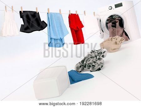 Clean clothing hanging on a rope coming out of the washing machine dirty clothing jump into the washing machine.Concept. 3D illustration