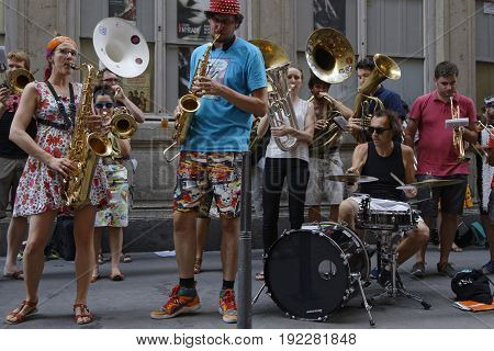 Lyon, France, June 21, 2017 : Unidentified Amateur Musicians Play During Fete De La Musique. The Fet