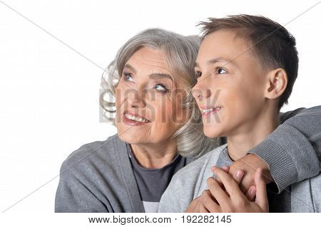 Family portrait of Happy grandmother and grandson isolated on white background