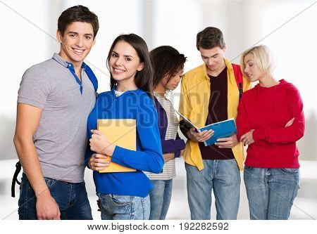 Group young successful students background f