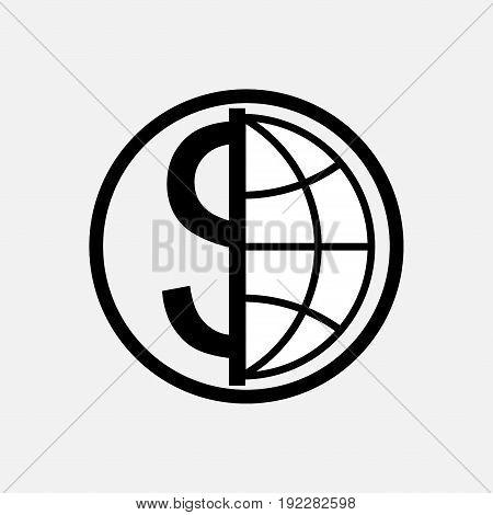 icon global currency money globe planet logo fully editable image