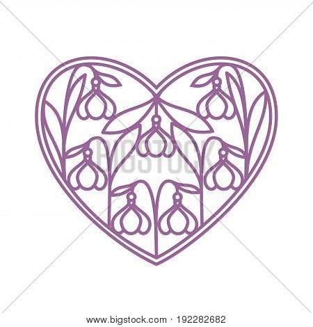 Decorative loving heart design with stylized snowdrops flowers. Template for laser cutting.