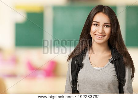 Girl student white background colorful beautiful happy