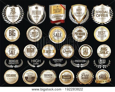 Premium And Luxury Silver And Black Retro Badges And Labels Collection 5.eps
