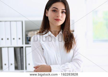 Beautiful Businesswoman Brunette Portrait In The Office