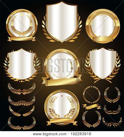 Vector Medieval Golden Shields Laurel Wreaths And Badges Collection.eps