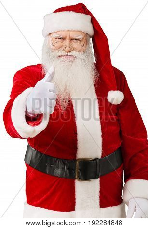 Smiling  santa claus thumb up holiday background holiday party